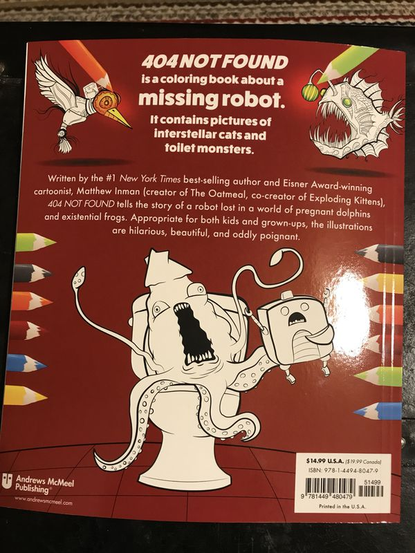 404 Not Found Coloring Book By The Oatmeal For Sale In Scottdale Ga