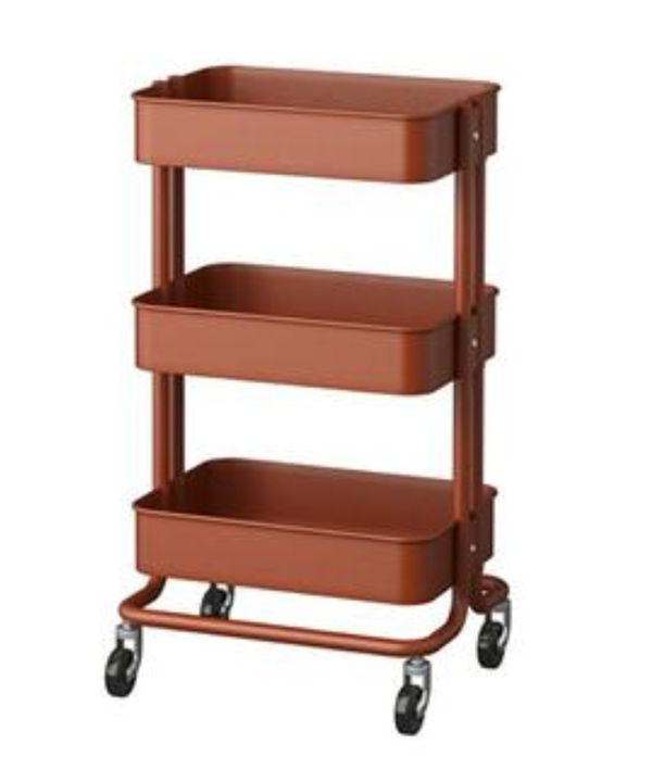 New Boxed Rare Ikea Raskog 3 Level Storage Cart Wheels Red