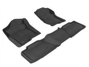 Photo 3D MAXpider L1CH04901509 Complete Set Custom Fit All-Weather Floor Mat for Select Chevrolet Tahoe Models - Kagu Rubber (Black)