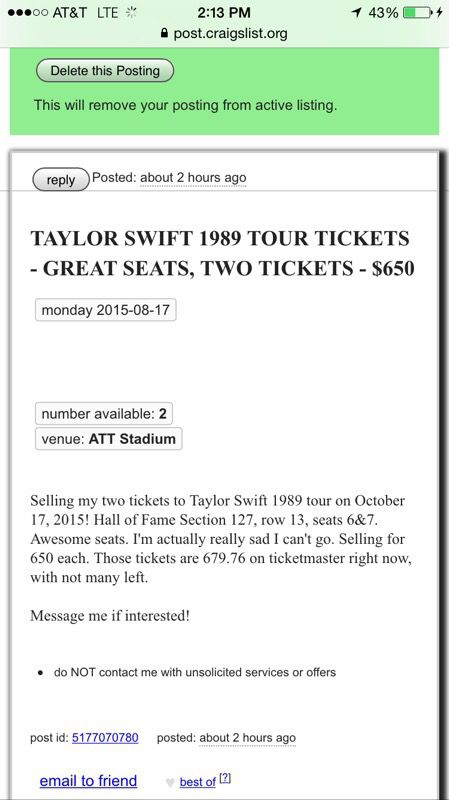 Taylor Swift Tickets For Sale In Dallas Tx Offerup