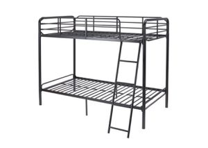Photo New Twin Over Twin Metal Frame Bunk Bed with Ladder, Black