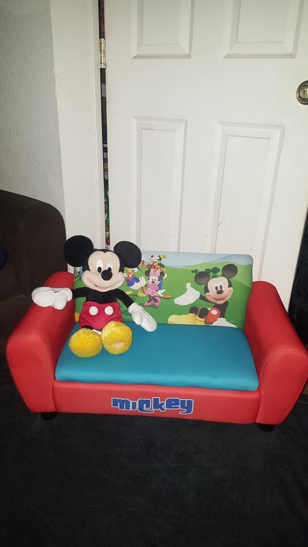 Mickey Mouse Upholstered Sofa With Storage For Toys Mickey Mouse