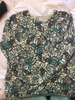 Kim Rogers Blue & Gray pullover sweater Sz M Thumbnail