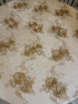 Champagne embroidered lace table Overlay  Thumbnail