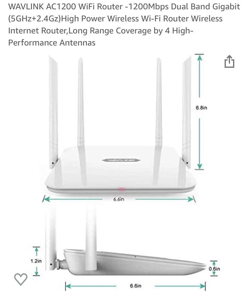 WAVLINK AC1200 WiFi Router -1200Mbps Dual Band Gigabit (5GHz+2.4Gz)High Power Wireless Wi-Fi Router Wireless Internet Router,Long Range Coverage by 4