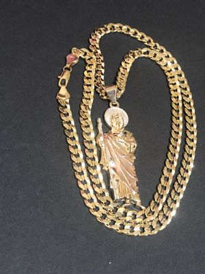 Curb Cuban link GOLD PLATED OVER BRASS 7mm Necklace 24inches In Length With Tri Color St. Jude Charm for Sale in Orlando, FL