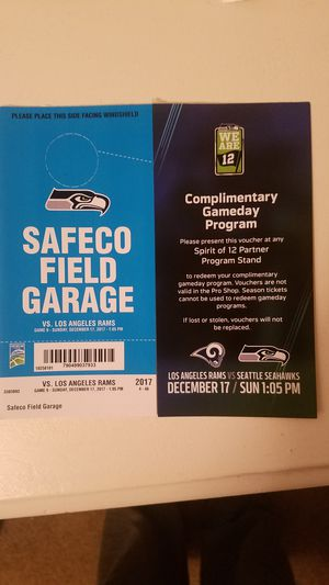Seahawks Parking Pass 12/17 for Sale in Seattle, WA