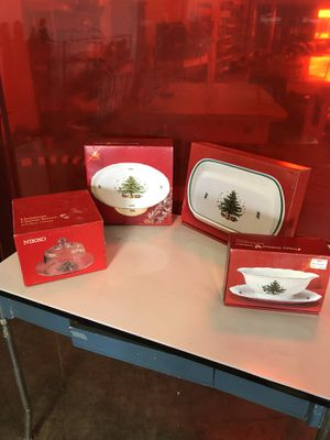 Nikko Christmastime set includes place settings, platters, cheese platter, pedestal cake plate, vegetable bowl. $200 for lot for Sale in Gaithersburg, MD