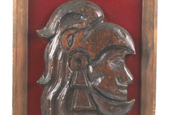 Vintage Aztec or Mayan Soldier Wood Carved Head Wall Decor Framed ...