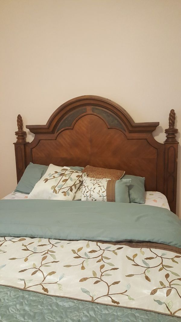 queen sized mattress springboard headboard and extras for sale in