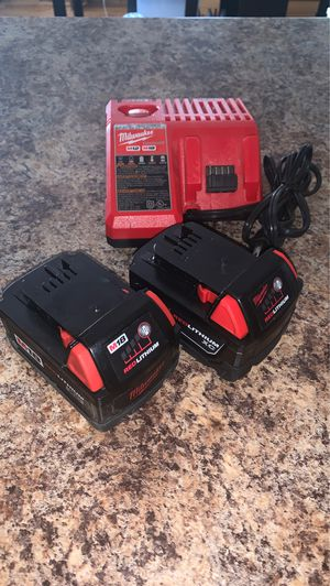 Photo Milwaukee m18 lithium batteries with charger! Just like new!