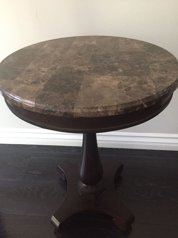 Relatively Marble Wooden End Table Side Table Dark Brown Cherry Brown  FQ61