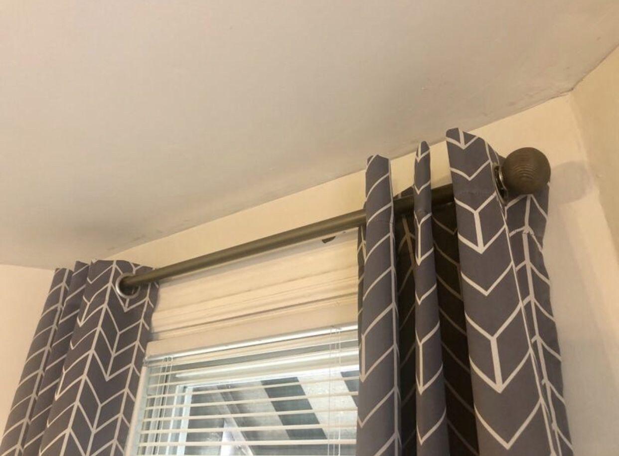 Grey Oak Curtain Rod Set
