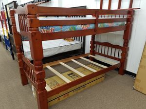 Brand new cherry color twin twin thick post bunk bed for Sale in Washington, DC