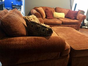 Earth Tone Loveseat and Oversized Chair with Ottoman for Sale in Lanham, MD