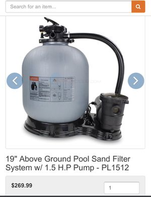 "Photo 19"" above ground pool sand filter system with 1.5 hp Hayward Max flo pool spa hot tub pump"
