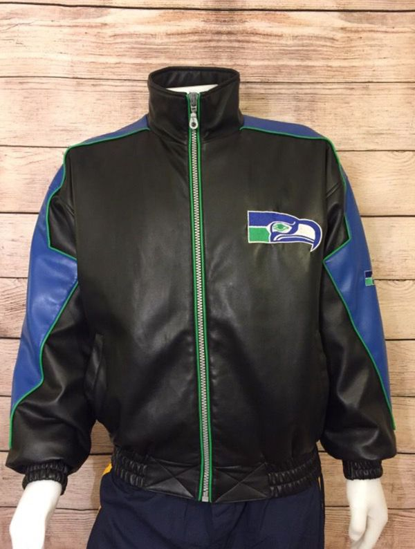 65f587a0f Seattle Seahawks Jacket Seattle Seahawks leather jacket vintage Seahawks  Jacket Rare nfl game day Seahawks Jacket Seahawks jersey