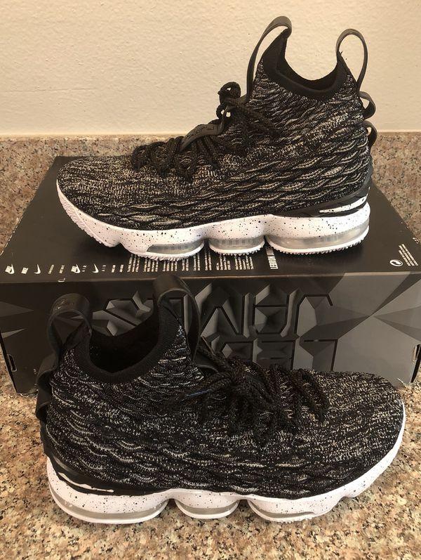 22ec0cc30e78 NEW Nike LeBron XV 15 Ashes Black White OREO Men s Sz 8.5 for Sale ...