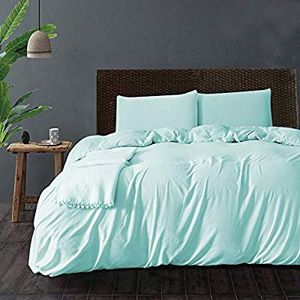 Queen duvet cover and pillow cases Soft blue color as shown in photo for Sale in Alexandria, VA