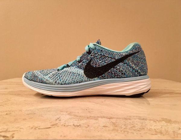 5dd6680b9e81 Nike Flyknit Lunar 3 Running Shoes 698182-404 Women s Size 5 Copa Blue  Lagoon for Sale in Brecksville
