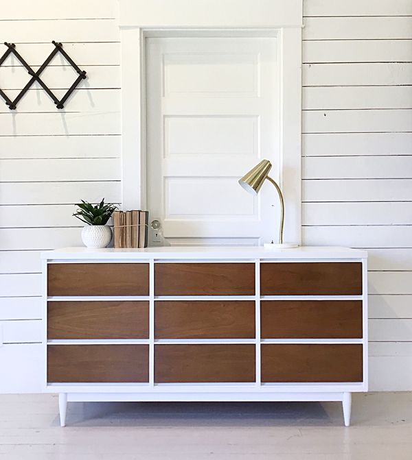 White And Wood Mid Century Modern Dresser Furniture In Mount
