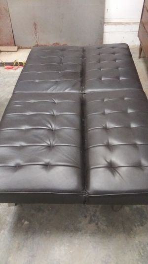 Kansas City Mo It S In The Mirror Wood Black Leather Futon Great Shape 100 Solid