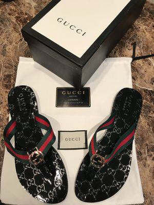 8001e50bcbd46 Black Gucci Web GG Thong Sandals for Sale in Columbus