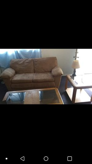 Loveseat, big glass coffee table, glass side table and a lamp for Sale in Rolla, MO