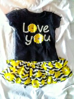 fun tee and ruffle sunflower skirt set Thumbnail