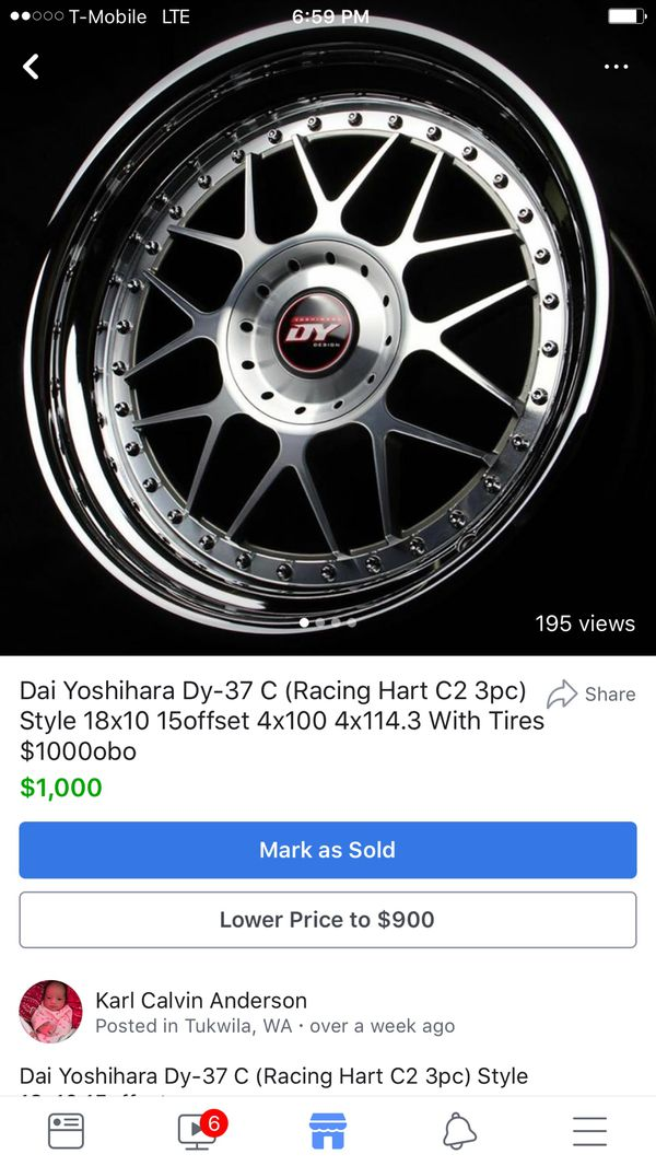 Dai Yoshihara DY-37C (Racing Hart C2 3pc style) 18x10 +15 offset 4x100 for  Sale in Seattle, WA - OfferUp