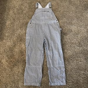 Photo Duluth Trading Women's Gardening Overalls Blue White Stripped Size XL