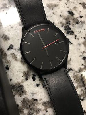 MVMT black leather watch for Sale in Mebane, NC
