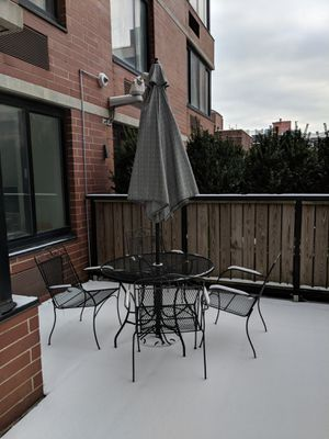 Home Depot Patio all metal table, chairs (4), umbrella (Nantucket set from Home Depot) for Sale in Seattle, WA