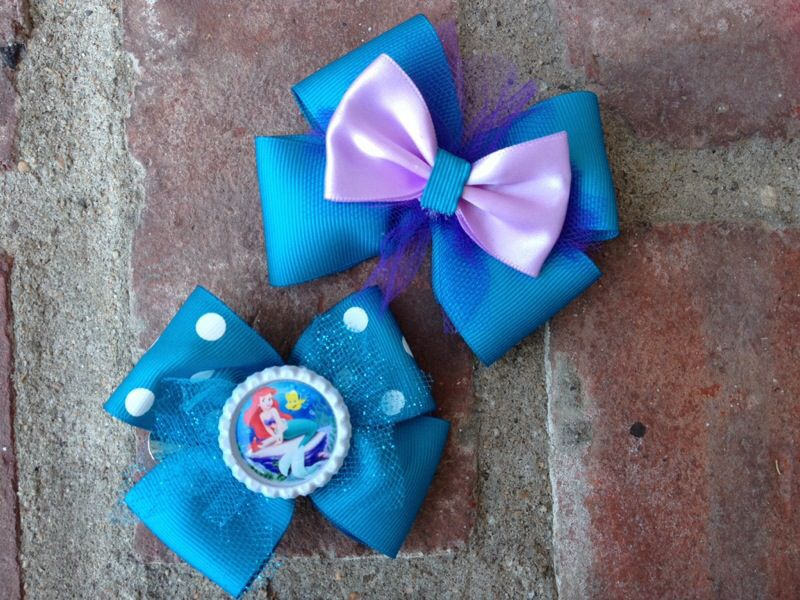 Ariel and flounder bow with polka dot print