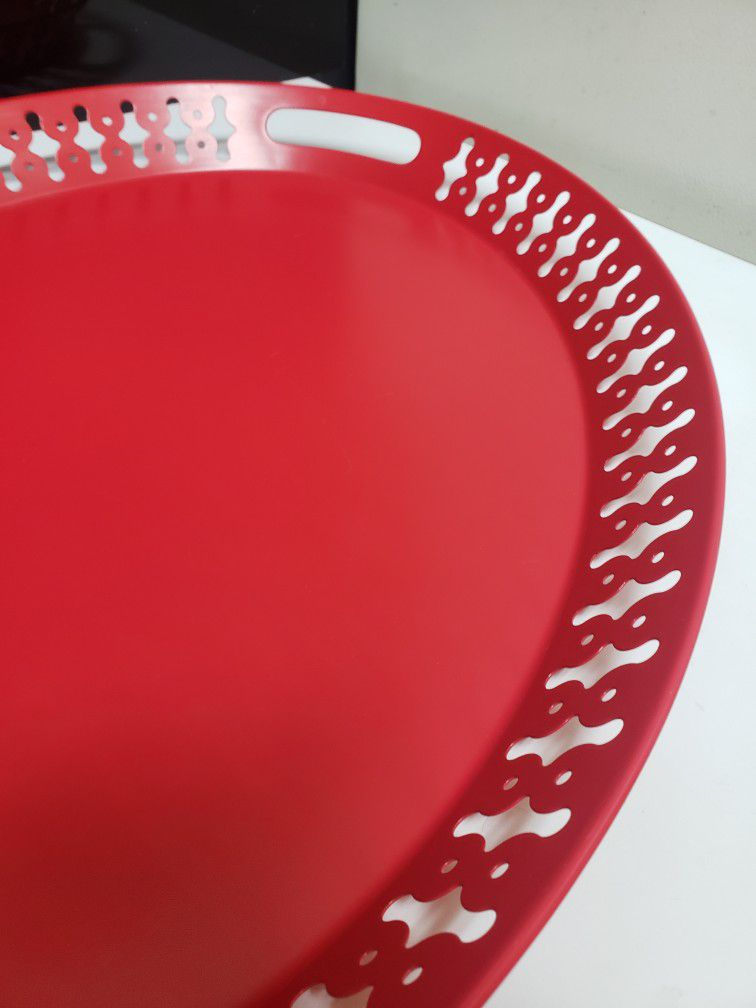 Red Ikea Oval Handled Metal Tray
