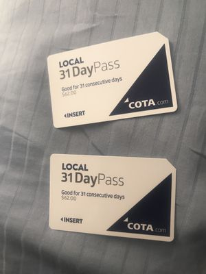 Two 31 Day Bus Passes for Sale in Columbus, OH