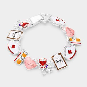 Nurse Theme Link Charm Bracelet Magnetic Clasp for Sale in Orlando, FL