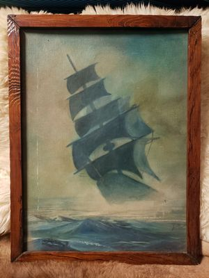 Photo Beautiful vintage oil painting of ship at sea an oak frame. 19.5 in wide and 25.5 in tall. $39