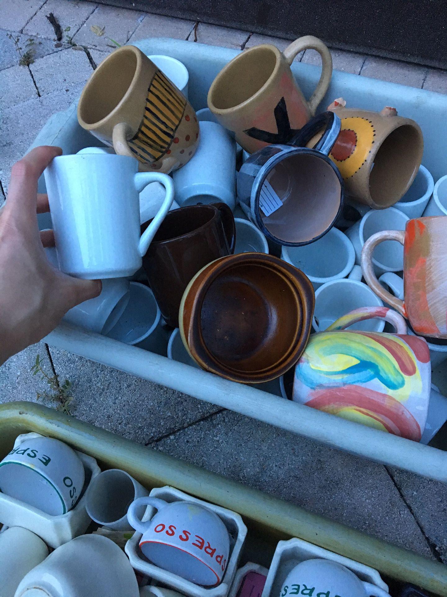 Several coffee mugs/tea mugs/espresso mugs/etc