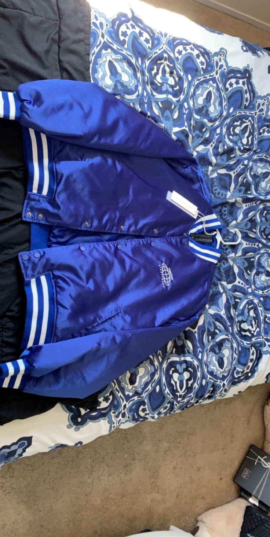 Visitor On Earth Blue Varsity Bomber (double-sided)