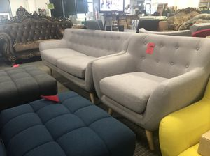 2pc mid century modern grey fabric remark sofa and chair set for Sale in Alexandria, VA