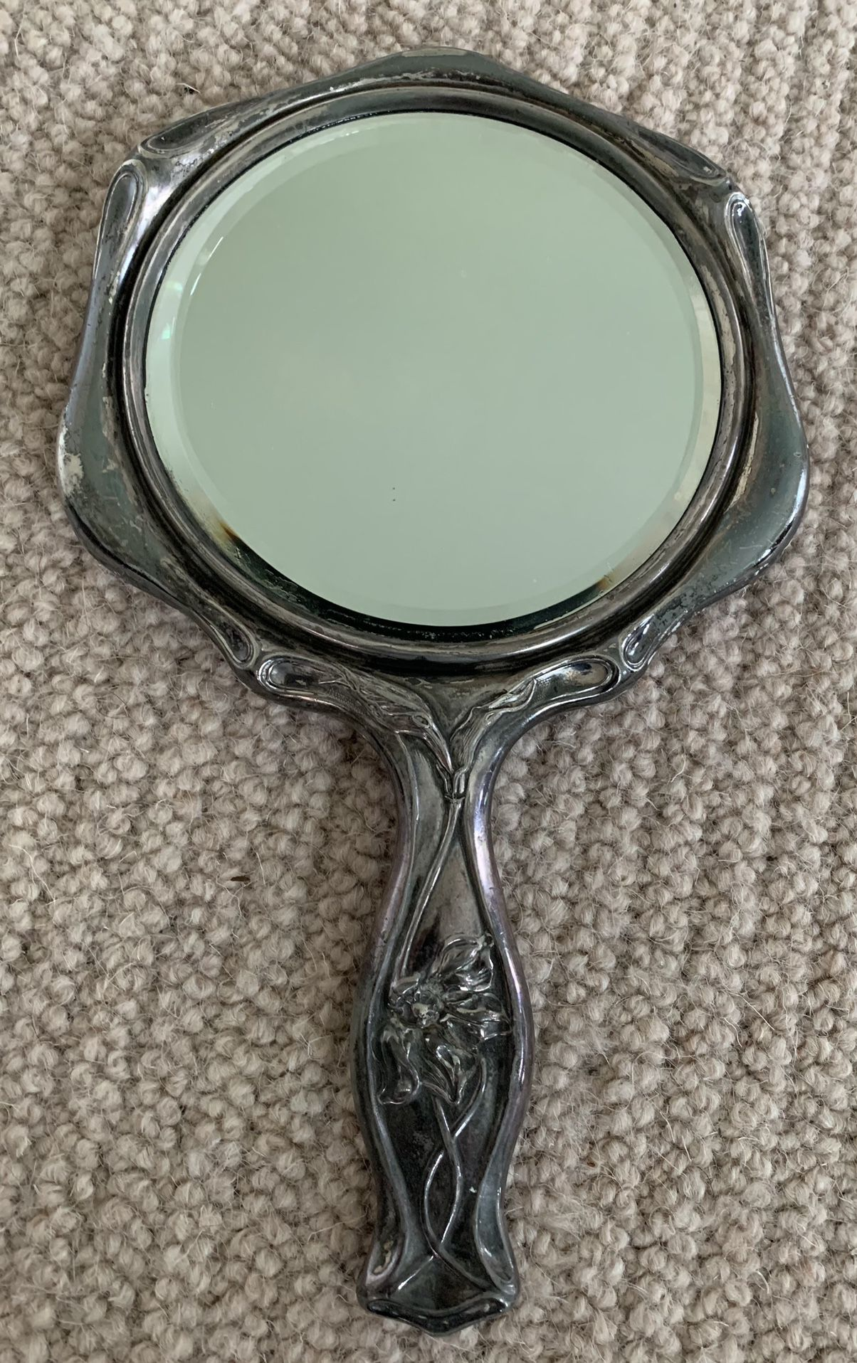 Vintage Silver-Plated Vanity Mirror
