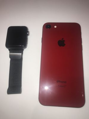 T-mobile (Product Red) iPhone 8 64GB & 42 MM Apple Watch Series 3 GPS+Cellular with Space Gray Milanese Loop for Sale in Silver Spring, MD