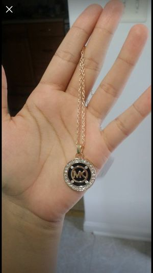 Mk Michael Kors black logo gold Tone necklace pedant chain for Sale in Silver Spring, MD