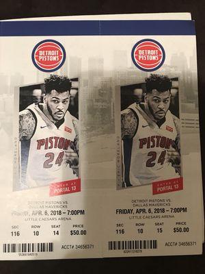 Detroit Pistons vs Dallas Mavericks - Friday April 6th for Sale in Windsor, ON