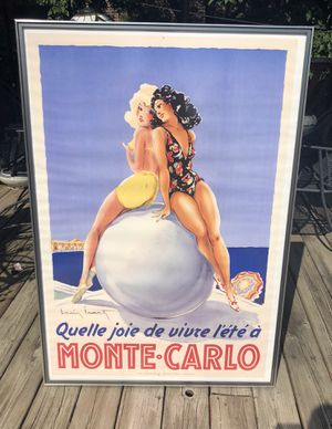 """Vintage Monte Carlo French Travel Poster by Louis Icart 44""""x31"""" for Sale in Chicago, IL"""