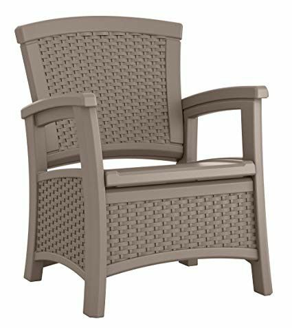 Suncast Elements Resin Patio Storage Club Chair New For