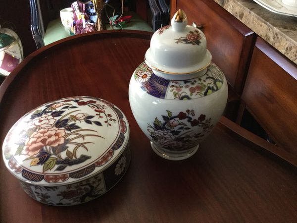 GORGEOUS PAIR OF IMARI WARE JAPAN VASE AND COVERED BOWL SIGNED In Japanese Stamp English You Know The Name Is Synonym With Quality Porcelain