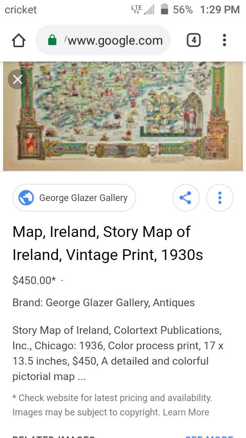 Print Map Of Ireland.1930s Original Map Of Ireland Colortex Publications 1932 For Sale