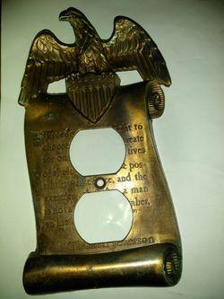 Beautiful vintage brass Thomas Jefferson eagle plate Thumbnail